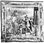 Consul Cominius conferring the name of Coriolanus upon Caius Marcius. From The History of Coriolanus